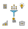 icons for business process on white vector image vector image