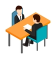 Job interview icon isometric 3d style