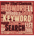 Keywords Trust Adwords text background wordcloud vector image vector image