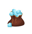 large brown bag full of precious stones blue vector image vector image