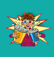 laughing boy in stereo glasses at cinema with vector image