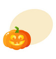 laughing happy pumpkin jack-o-lantern with funny vector image vector image
