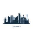 liverpool skyline monochrome silhouette vector image vector image
