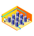 man data storage center maintenance vector image vector image