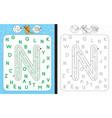 maze letter n vector image vector image