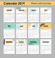modern creative calendar 2019 12 design templates vector image