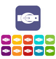oval belt buckle icons set flat vector image vector image