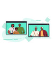 parents and child having virtual meeting vector image vector image