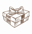 present decorated with ribbon and row isolated vector image vector image