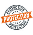 protection round grunge ribbon stamp vector image vector image