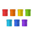 realistic detailed 3d color plastic buckets set vector image vector image