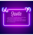 Retro neon glowing quote marks frame vector image vector image
