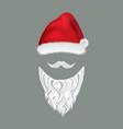 santa hat and beard vector image
