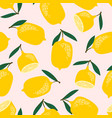 seamless pattern with lemons trendy hand vector image vector image