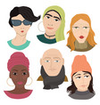 set of six people flat avatars vector image