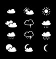 set of weather black icons vector image vector image