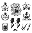 set vintage gentlemen emblems and elements vector image
