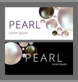 shiny pearls frame on background realistic white vector image