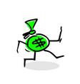 simple drawing running money vector image vector image