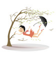 strong wind umbrella and woman snatches up a tree vector image vector image