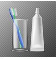 toothbrush in glass dental morning hygiene vector image