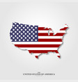 usa map flag with shadow on light background vector image