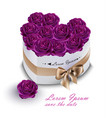 violet roses bouquet box realistic vector image vector image