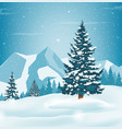 winter landscape with snowy pine trees and vector image vector image