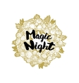 Xmas golden wreath and Magic Night vector image vector image