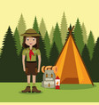 young woman scout in the camping zone scene vector image vector image