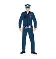 policeman flat icon service 911 cartoon vector image