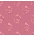 Seamless violet pattern or tile cupcake background vector image