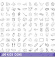 100 kids icons set outline style vector image vector image