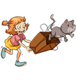 A young girl chasing the cat vector image