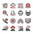 air pollutionpm 25 icon set vector image