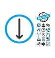 Arrow Down Flat Icon with Bonus vector image vector image