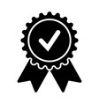 badge with ribbons and check mark vector image