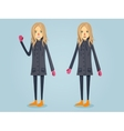 Beautiful girl standing in warm clothes vector image vector image
