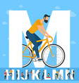 big m letter white letter with young people vector image vector image