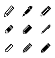 black pencil icons set vector image
