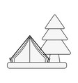 camping tent surrounded by trees icon image vector image vector image