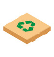 cardboard pizza box with green recycle symbol vector image vector image