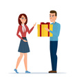 cartoon boy giving girl a gift box isolated on vector image vector image