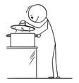 cartoon hungry curious man or cook looking on vector image vector image