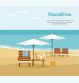 chaise lounge and umbrella on beach vector image