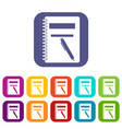 Closed spiral notebook and pen icons set
