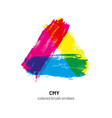 cmy colored brush strokes vector image vector image