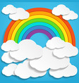colorful rainbow and clouds in blue sky vector image vector image