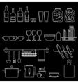 Cooking utensils line icons vector image