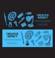 creative agency office web banner design vector image